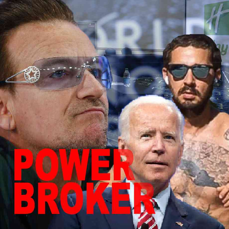 """Podcast cover. Red Text: """"POWER BROKER."""" Image: Bono, Biden, Shia Labeouf at a Holiday Inn."""