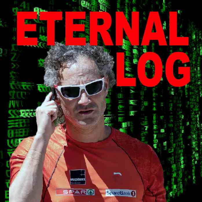 """Podcast cover. Red Text: """"ETERNAL LOG."""" Image: Alex Karp adjusts his Bluetooth earpiece in front of green, raining computer code."""