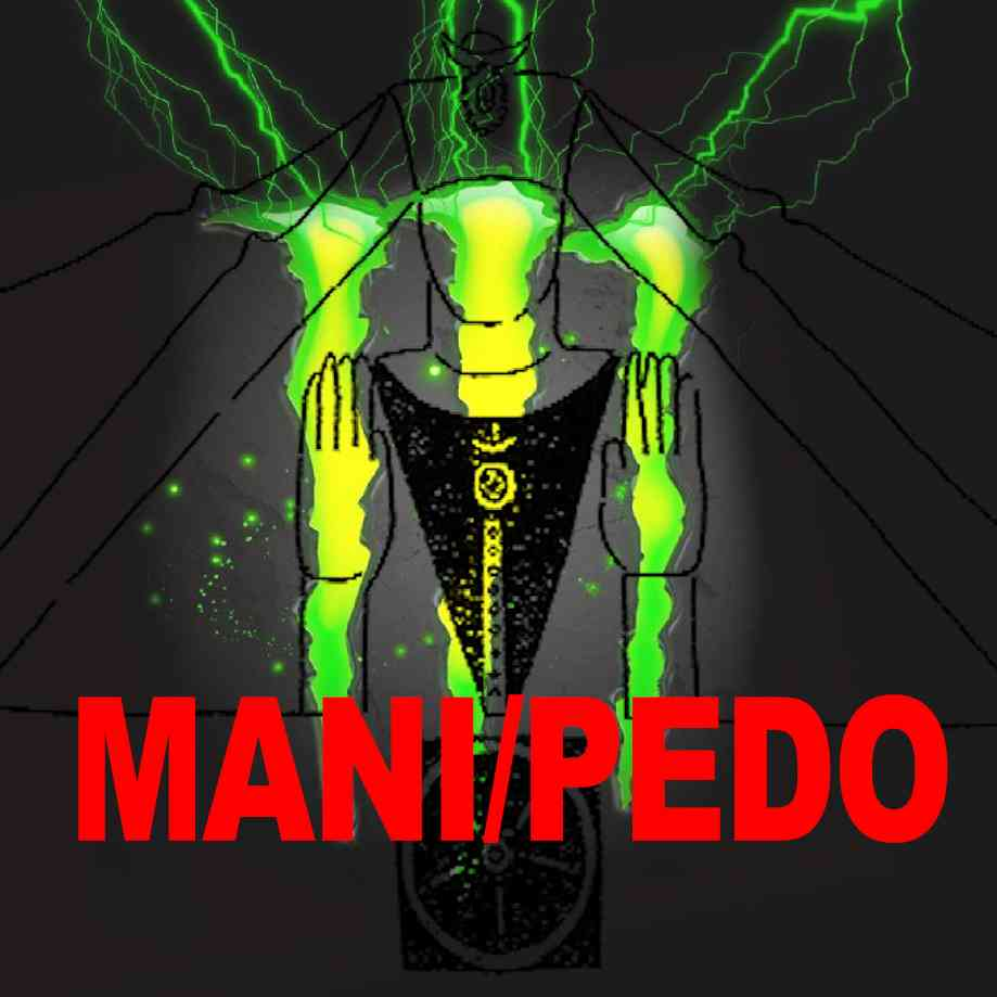 """Podcast cover. Red Text: """"MANI/PEDO."""" Image: Mash-up of an ancient Manichean and the Monster energy drink logo."""