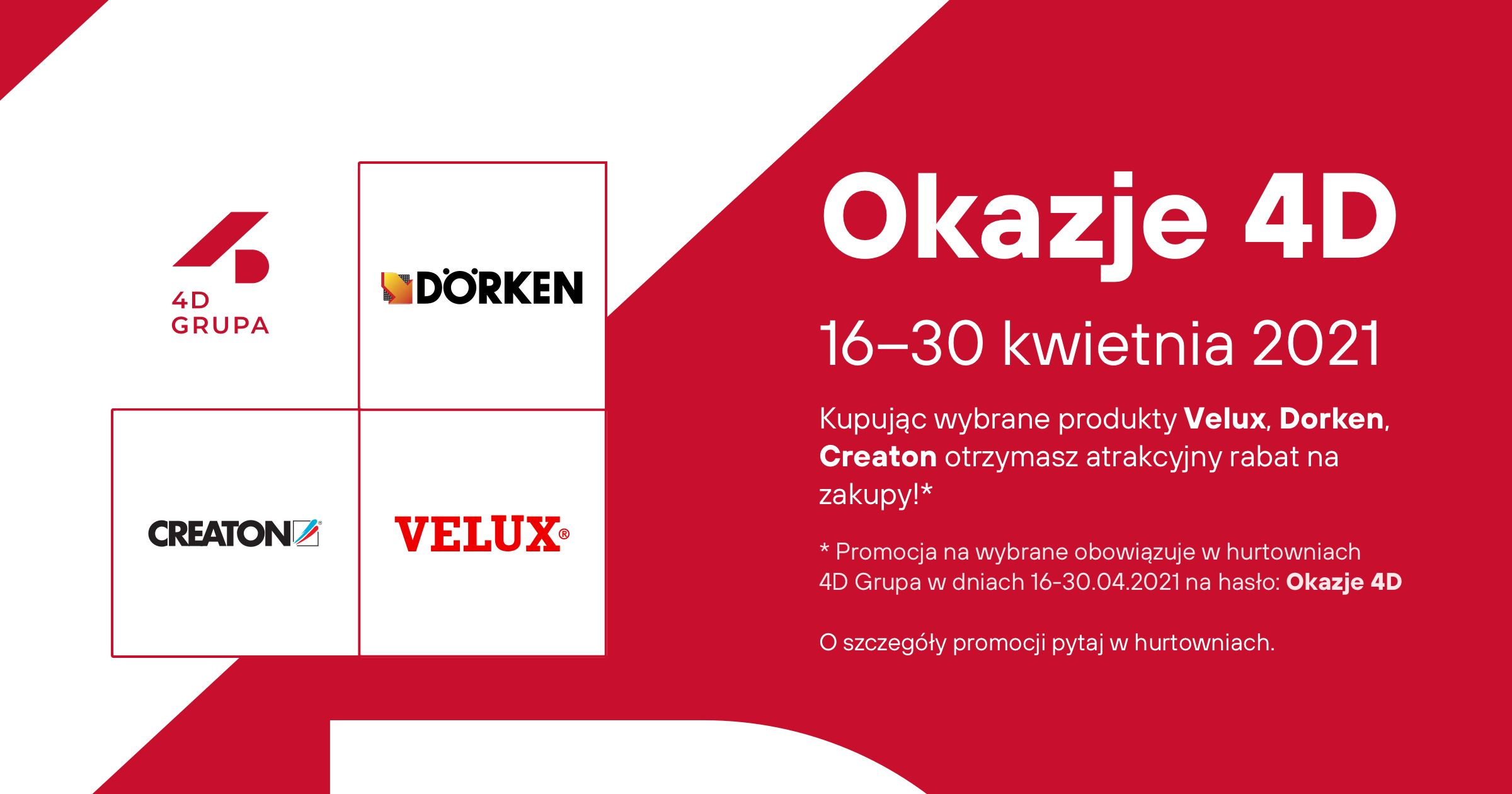 Okazje 4D - pokrycia dachowe z Velux, Dorken, Creaton