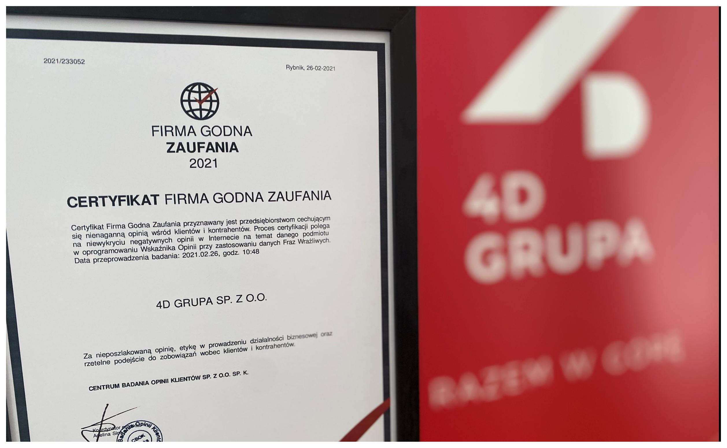 Hurtowania 4D Grupa została uznana za firmę godną zaufania
