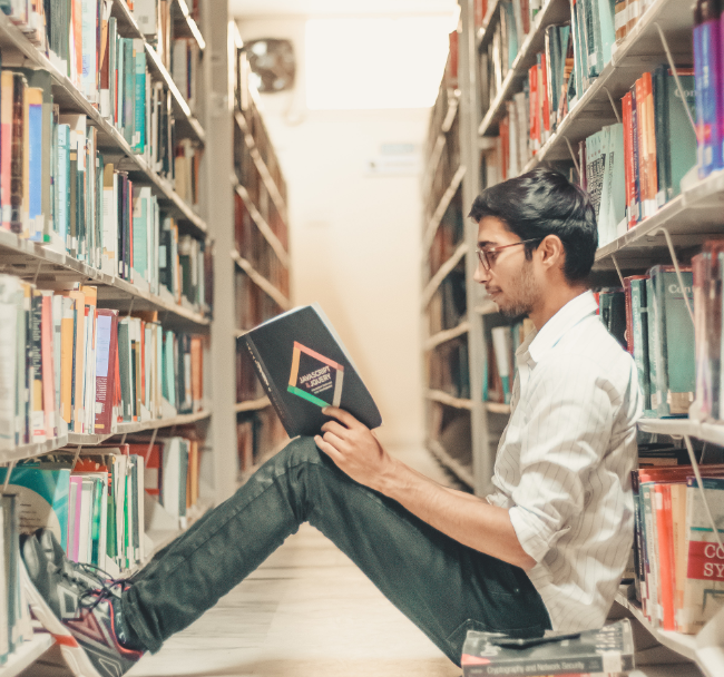 Image of man in library
