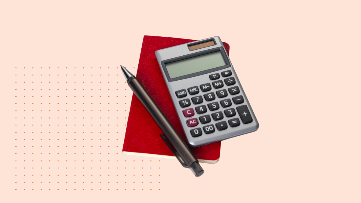 calculator and pen with red background