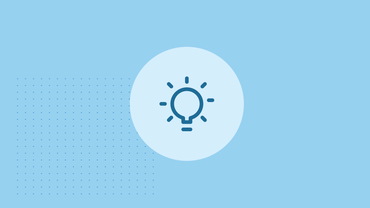lightbulb icon in dark blue surrounded by light blue circle