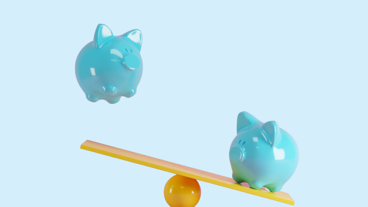 piggy banks on scale
