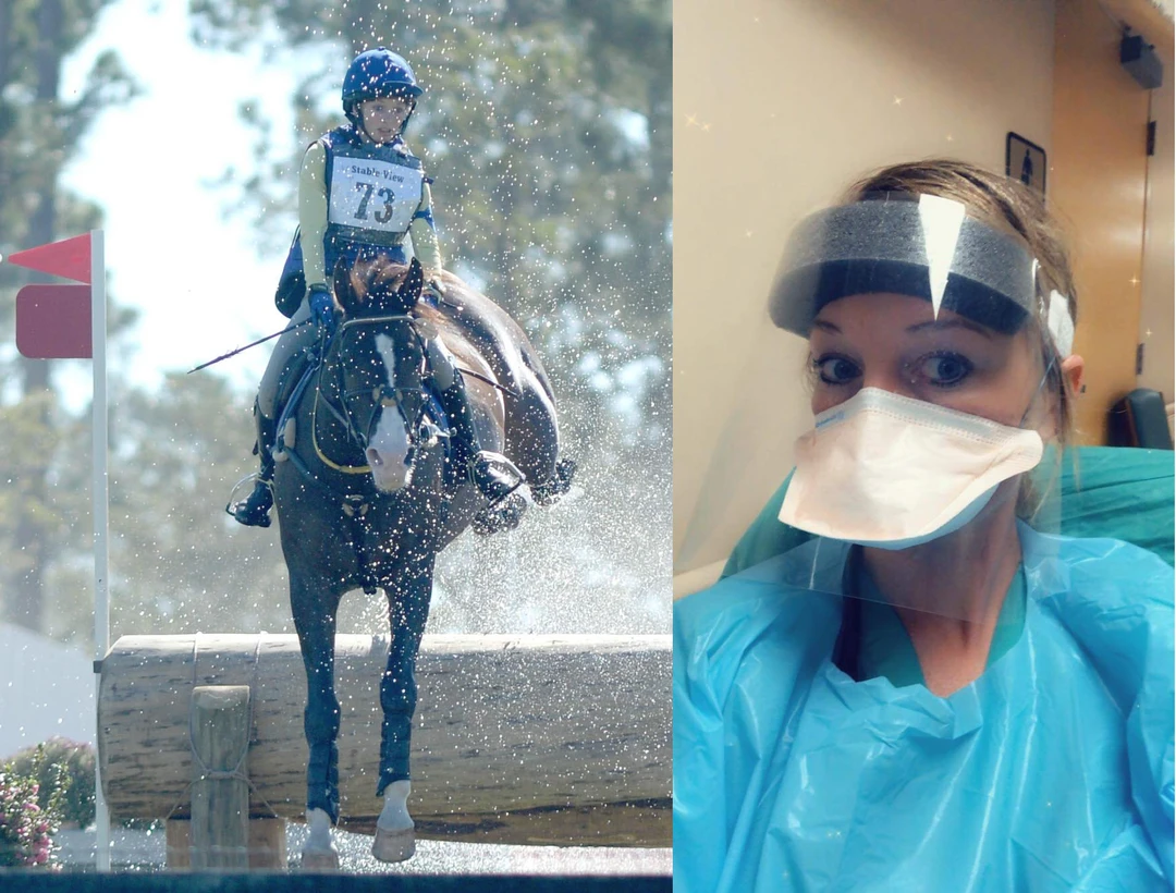 Advanced level event rider, Kylie Cahoon, is also a nursing student, working in her hospital's COVID unit.