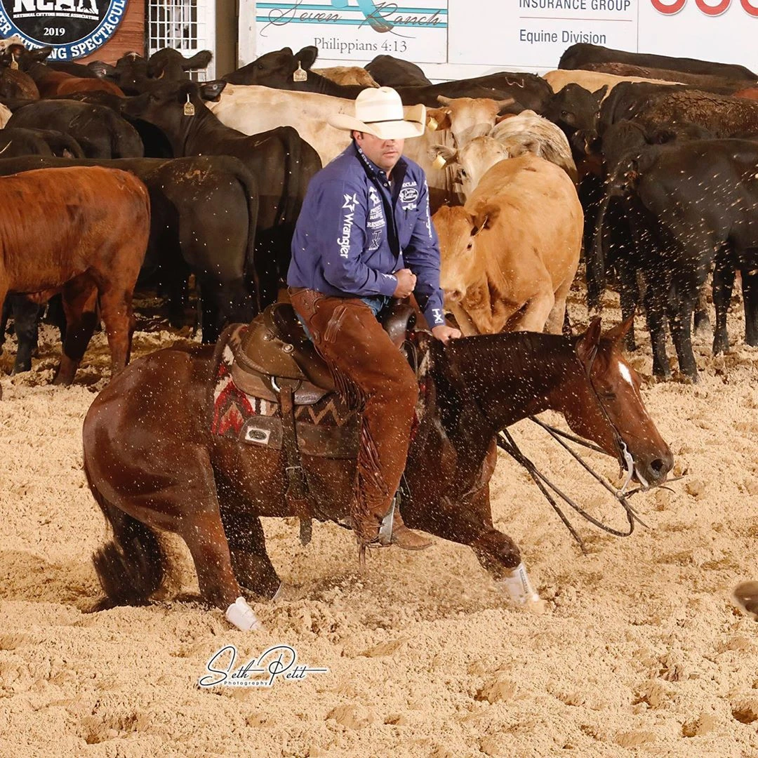 Grant Setnicka and Ruby Rita, owned by Robbie Thigpen, at the 2019 Metallic Cat NCHA Summer Spectacular. Photo courtesy of Seth Petit Photography