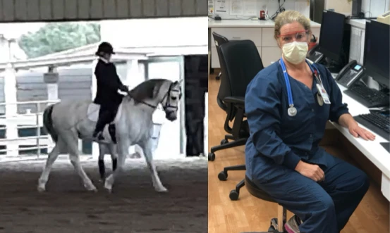 California resident, Kate Chilkott, enjoys riding her dressage horse, Casanova, when she's not working as a critical care RN and board member at the Central Coast Chapter of America Association of Critical Care