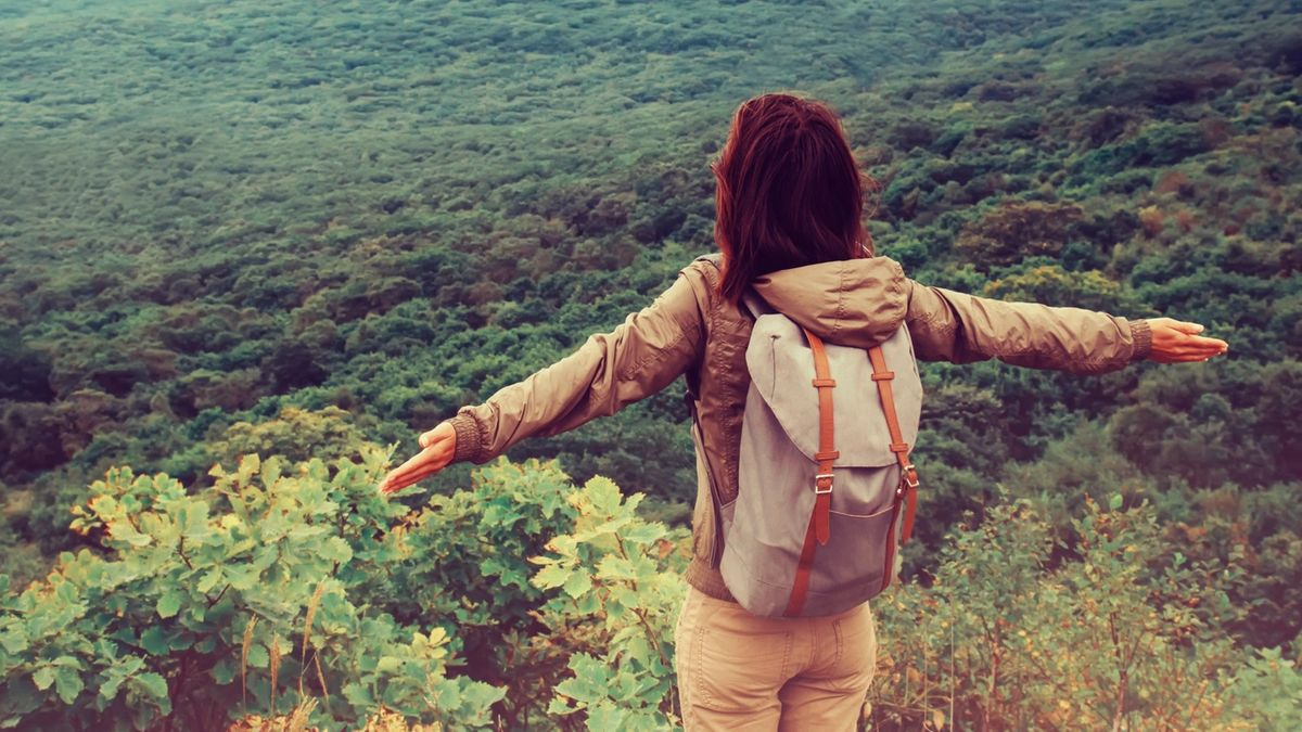 Woman spreads arms while standing on an overlook above a vast open forest