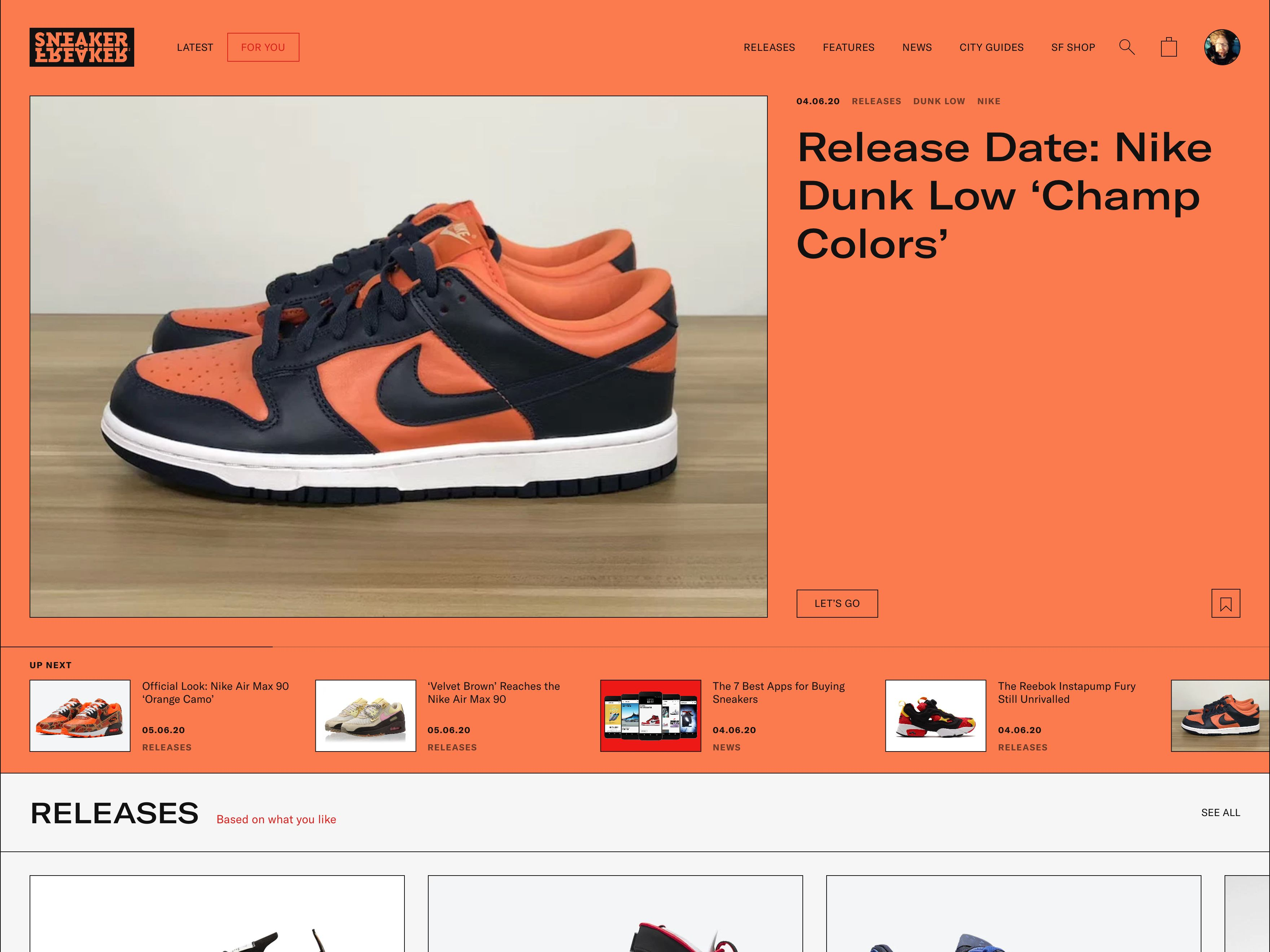 SneakerFreaker home page