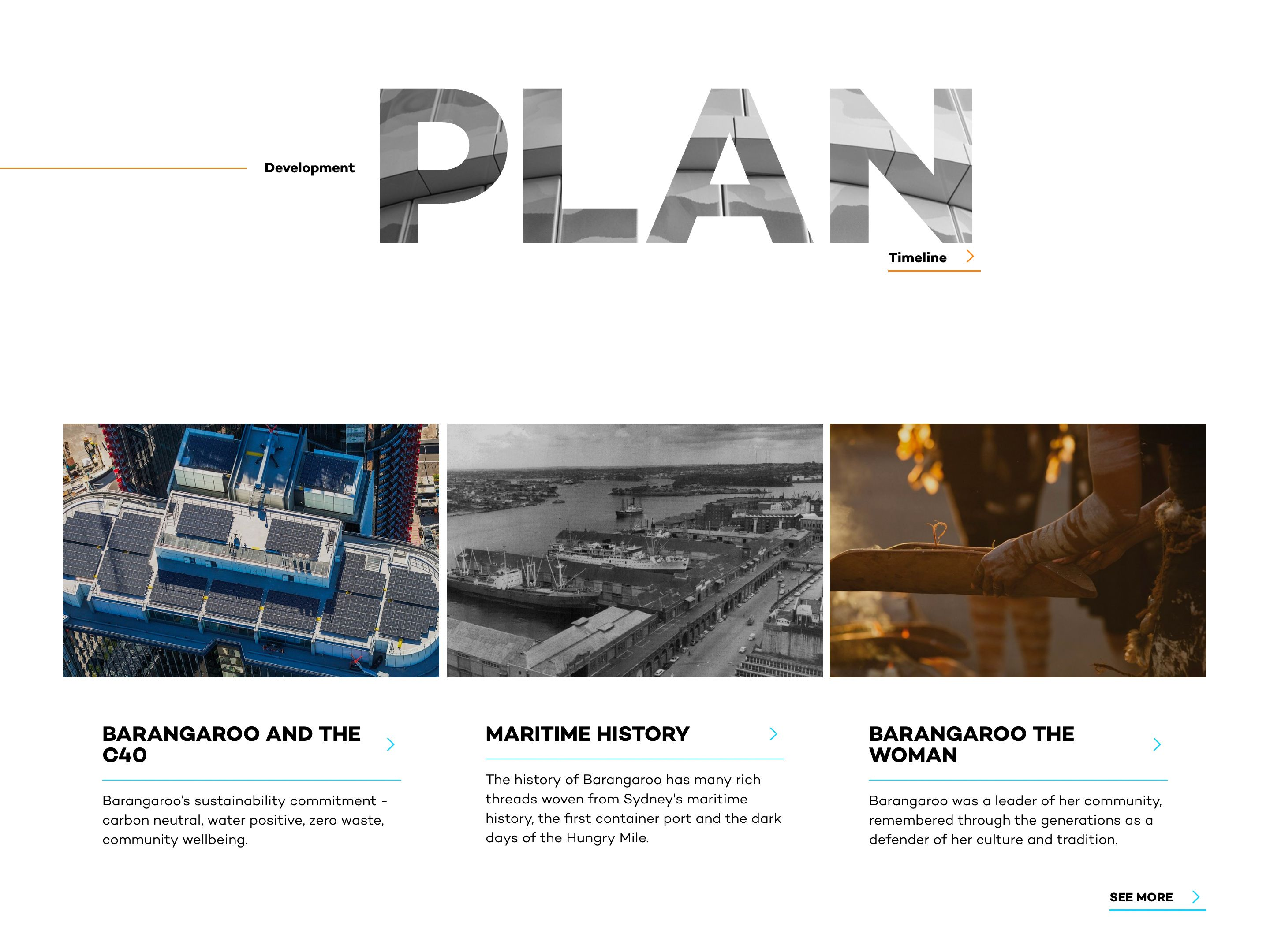 Screenshot of the development plan section on the Barangaroo website's home page