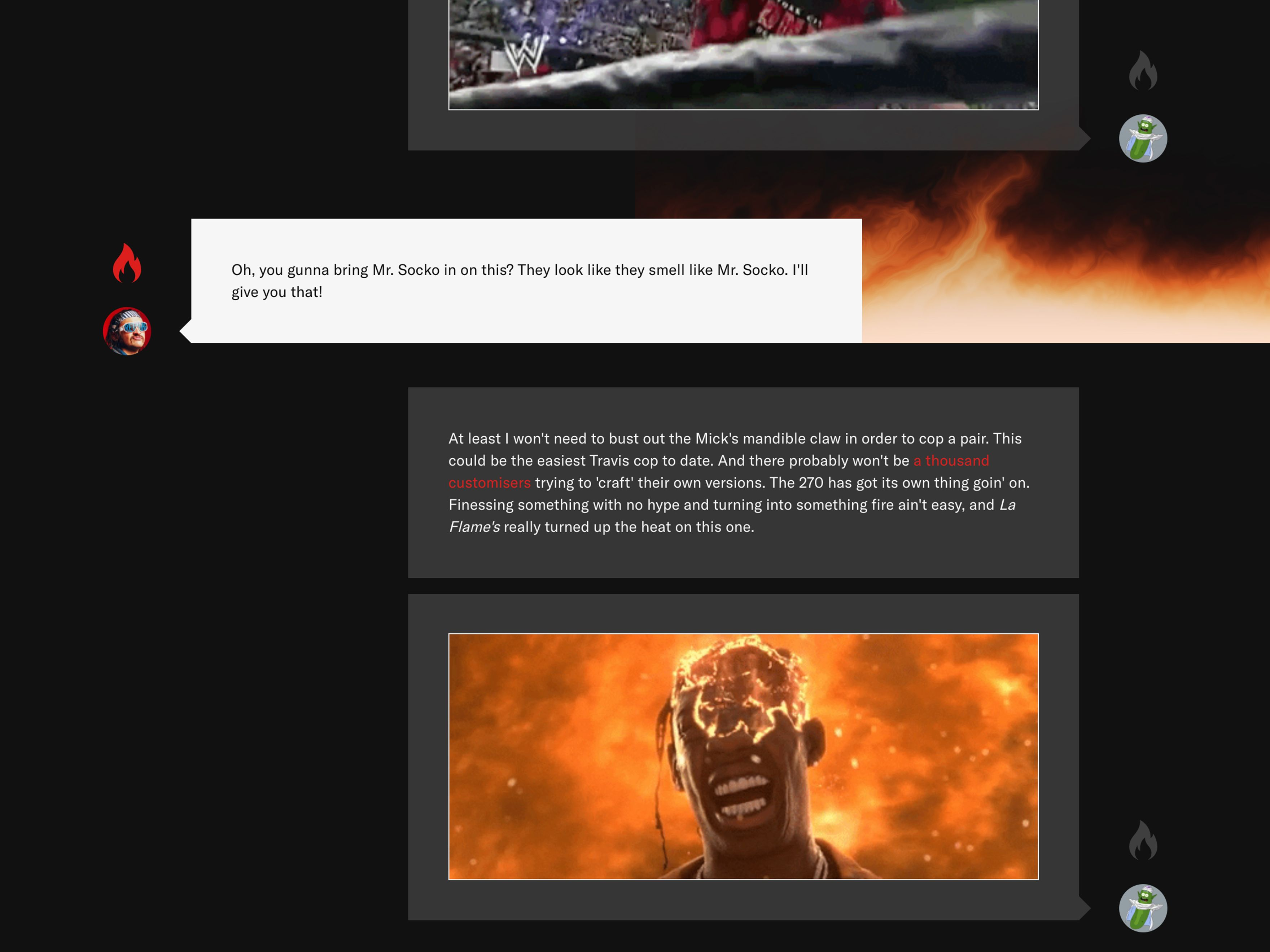 Screenshot of Sneaker Freaker Versus article dialogue