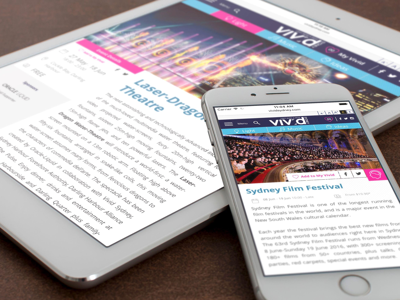 Vivid Sydney 2016 website on devices
