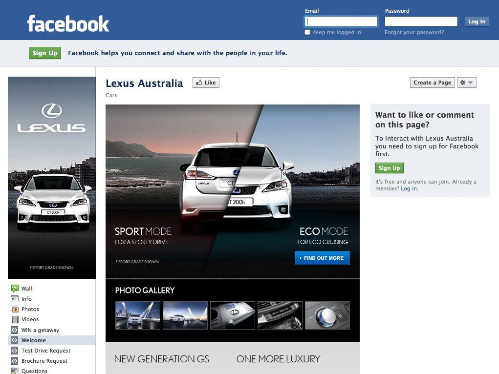 Lexus Australia Facebook page