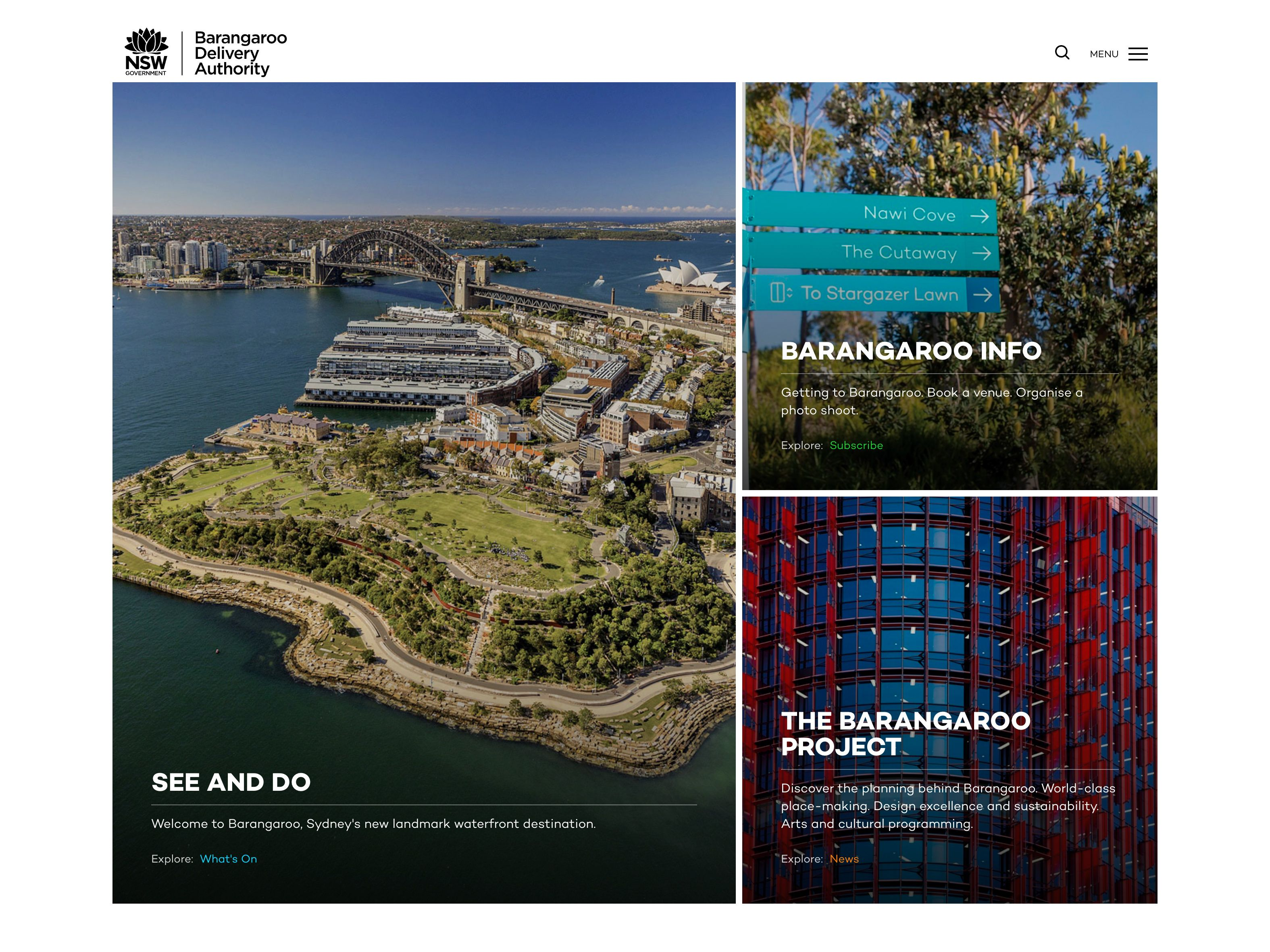Screenshot of the Barangaroo website home page