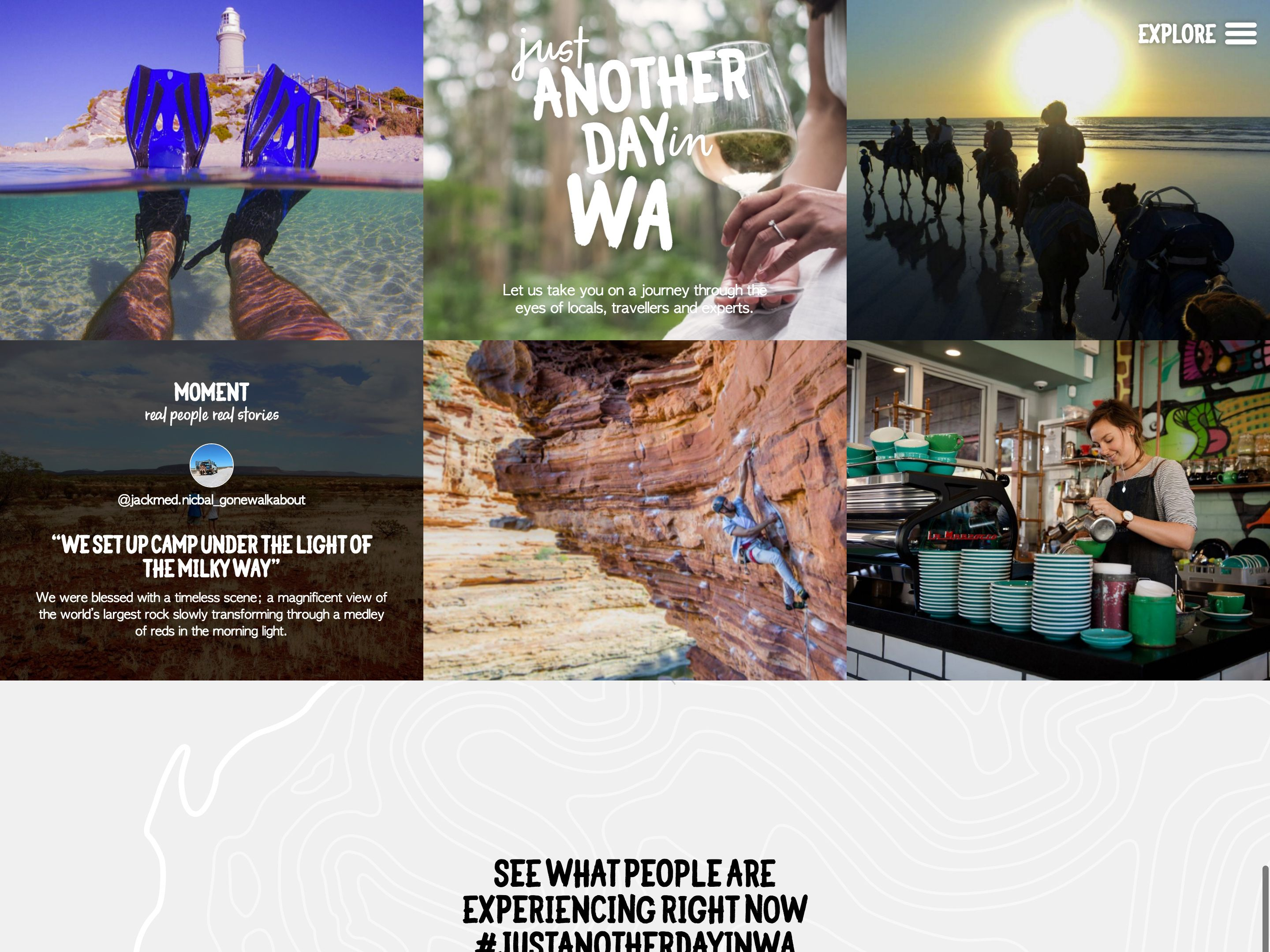Screenshot of the Just Another Day in WA home page