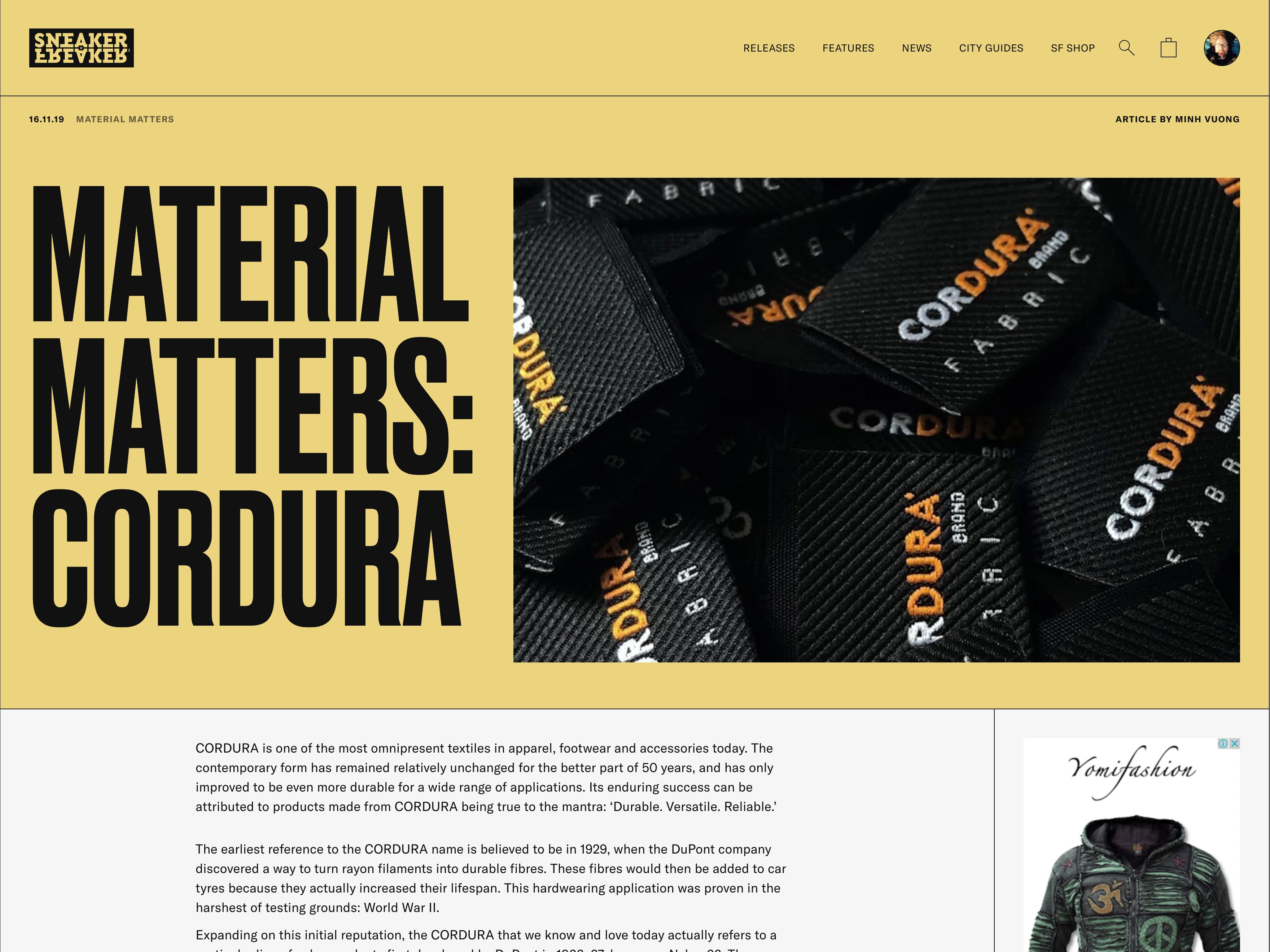 Sneaker Freaker Material Matters feature article