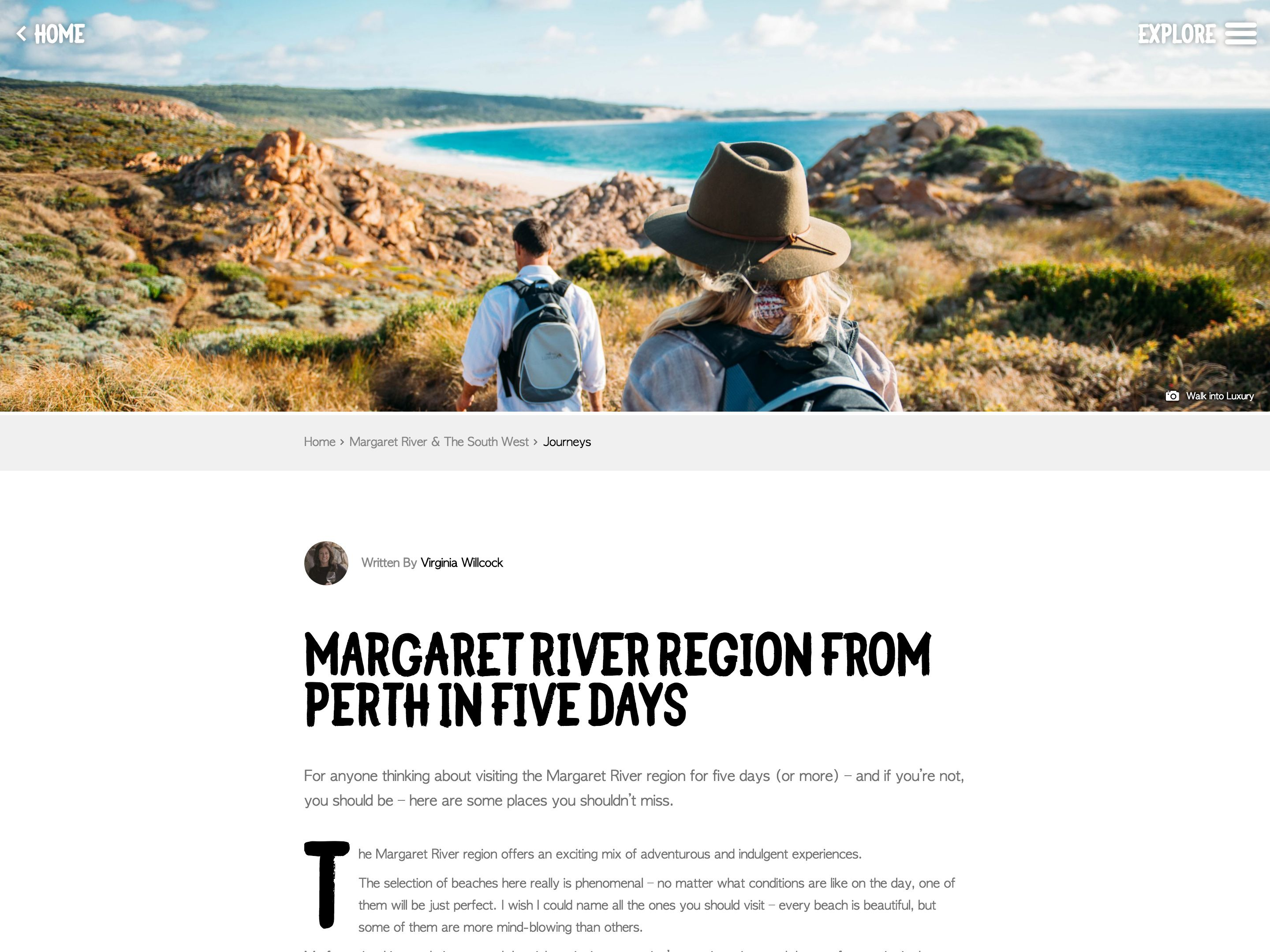 Screenshot of a Journey article on the Just Another Day in WA website