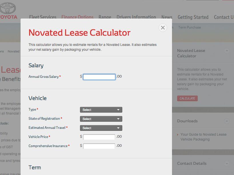 Toyota Fleet Management Novated Lease calculator