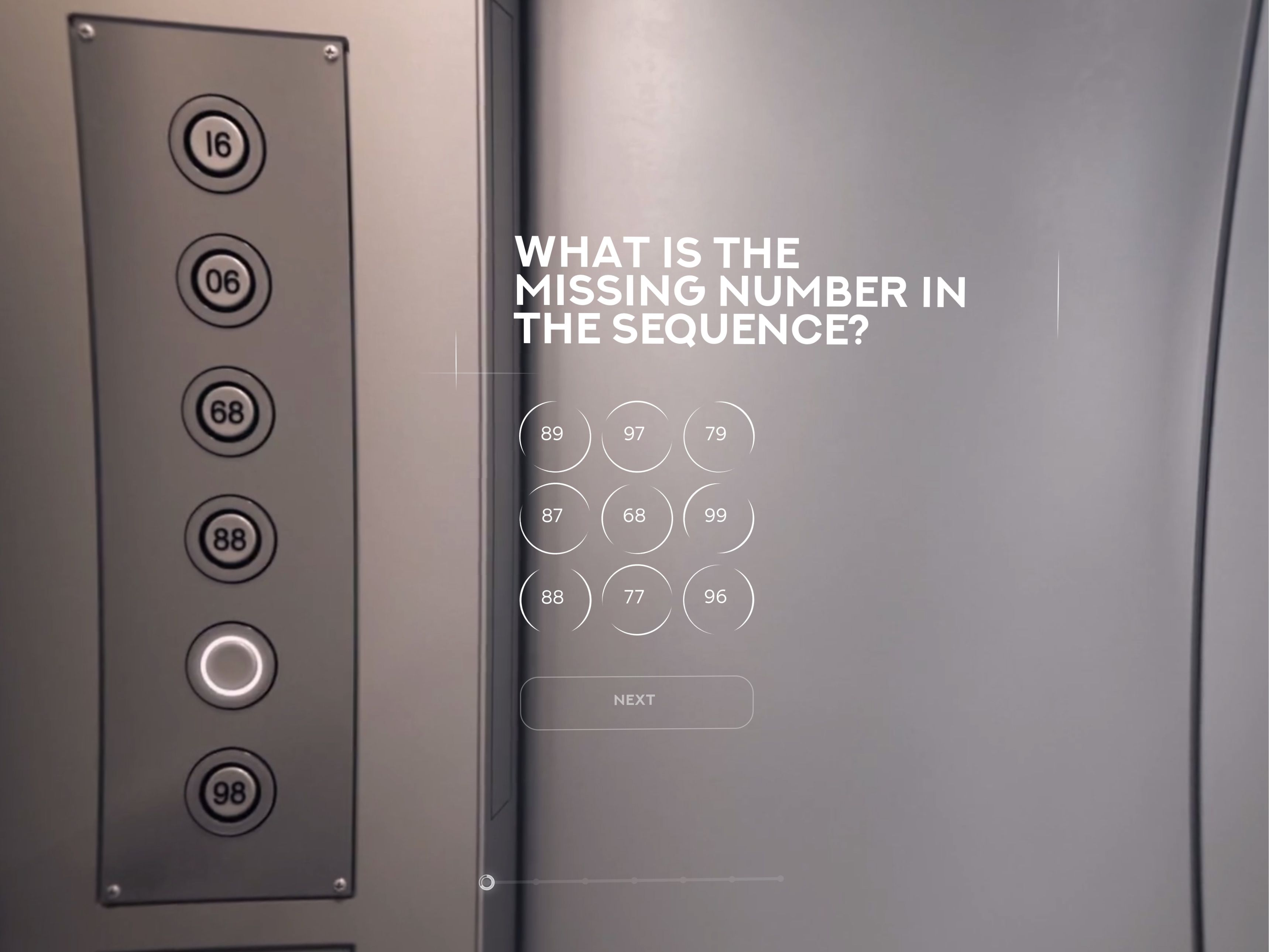 Screenshot of the elevator puzzle in The Most Interesting Job Interview
