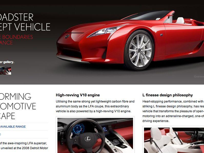Lexus future vehicles page