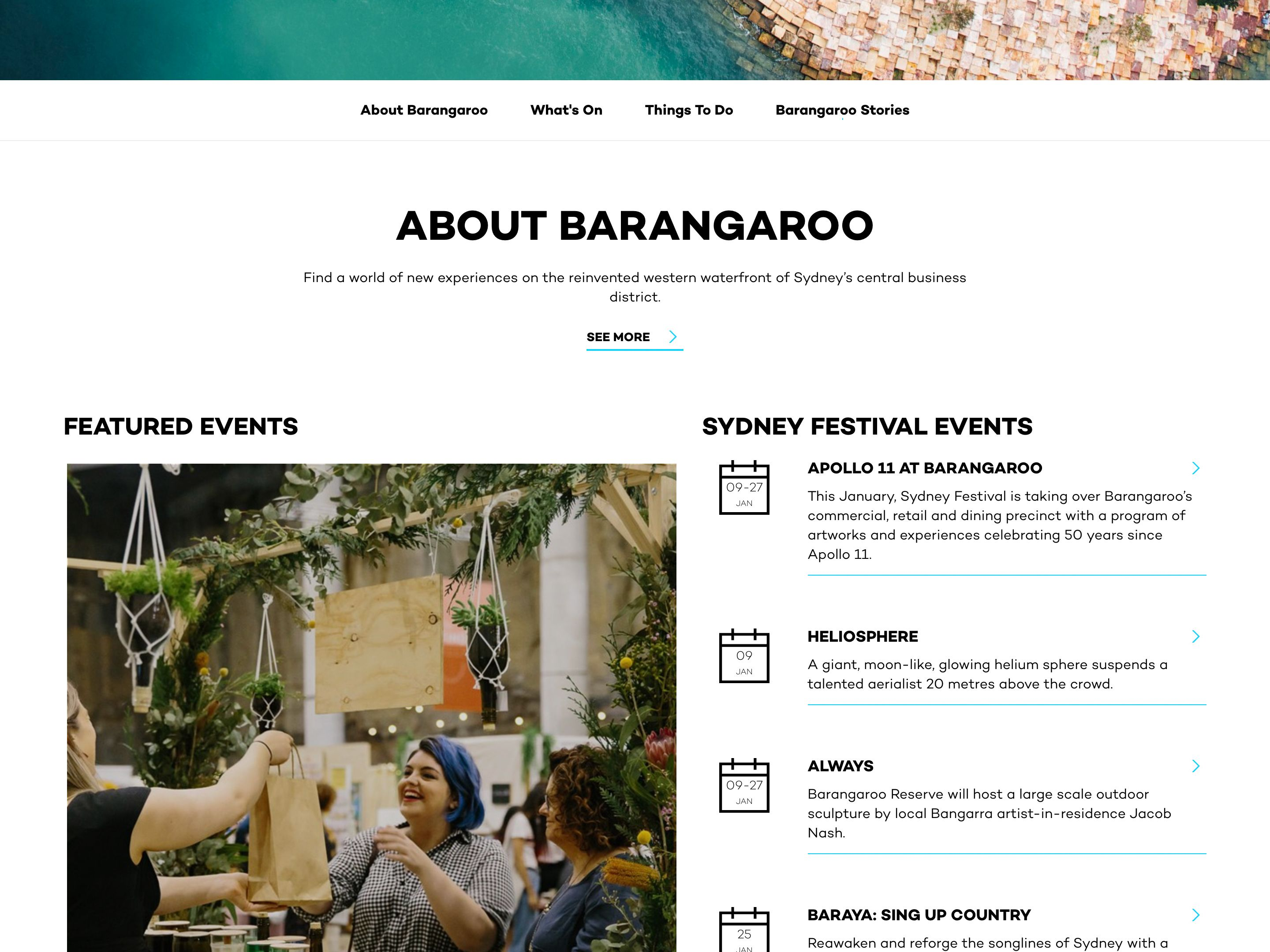 Screenshot of the See and Do page on the Barangaroo website