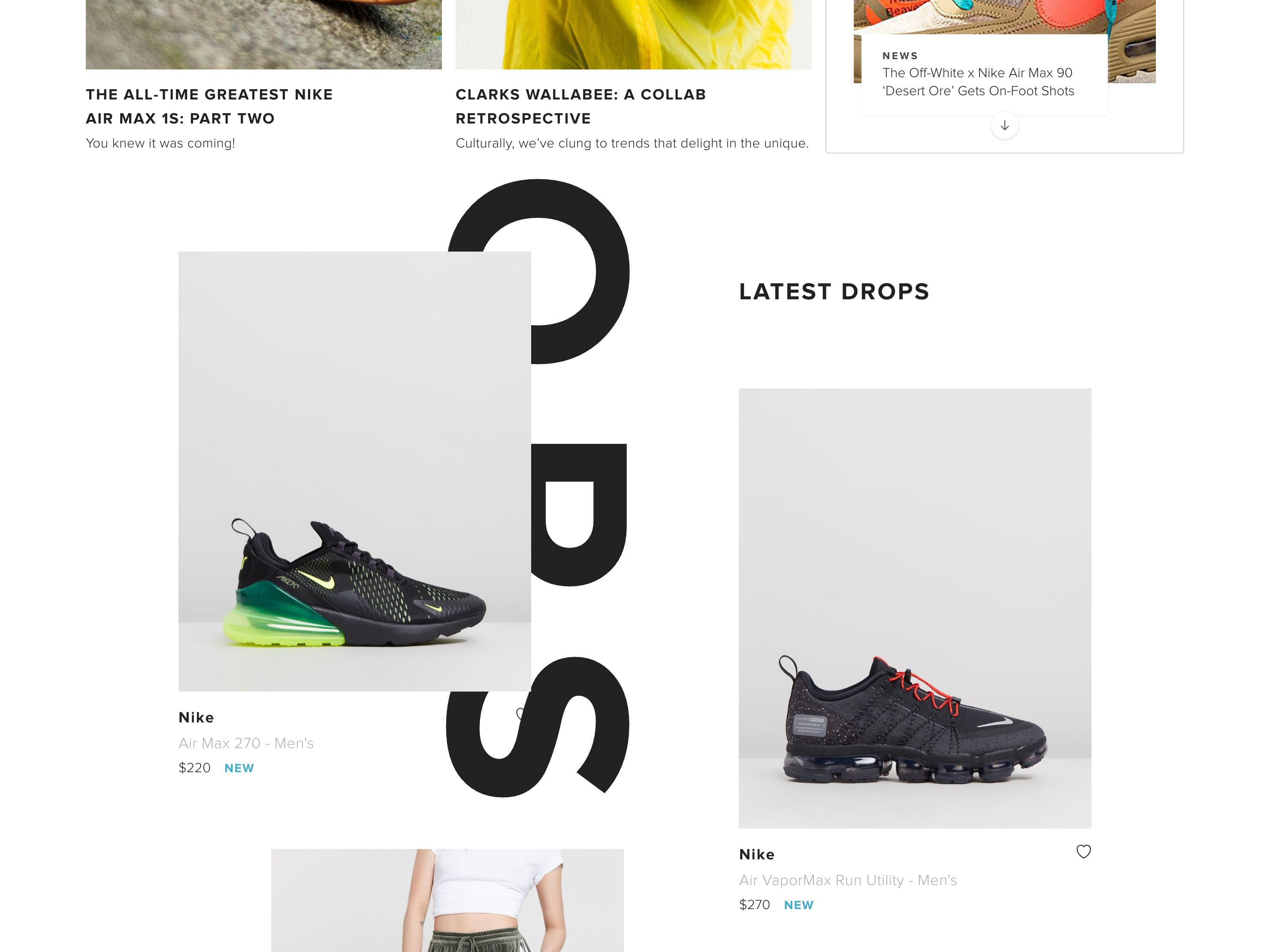 Detail of THE ICONIC's SneakerHub page, showing the Latest Drops parallax component