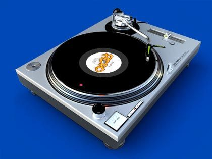 Still image from Digital Skratch user interface showing the record player visualisation