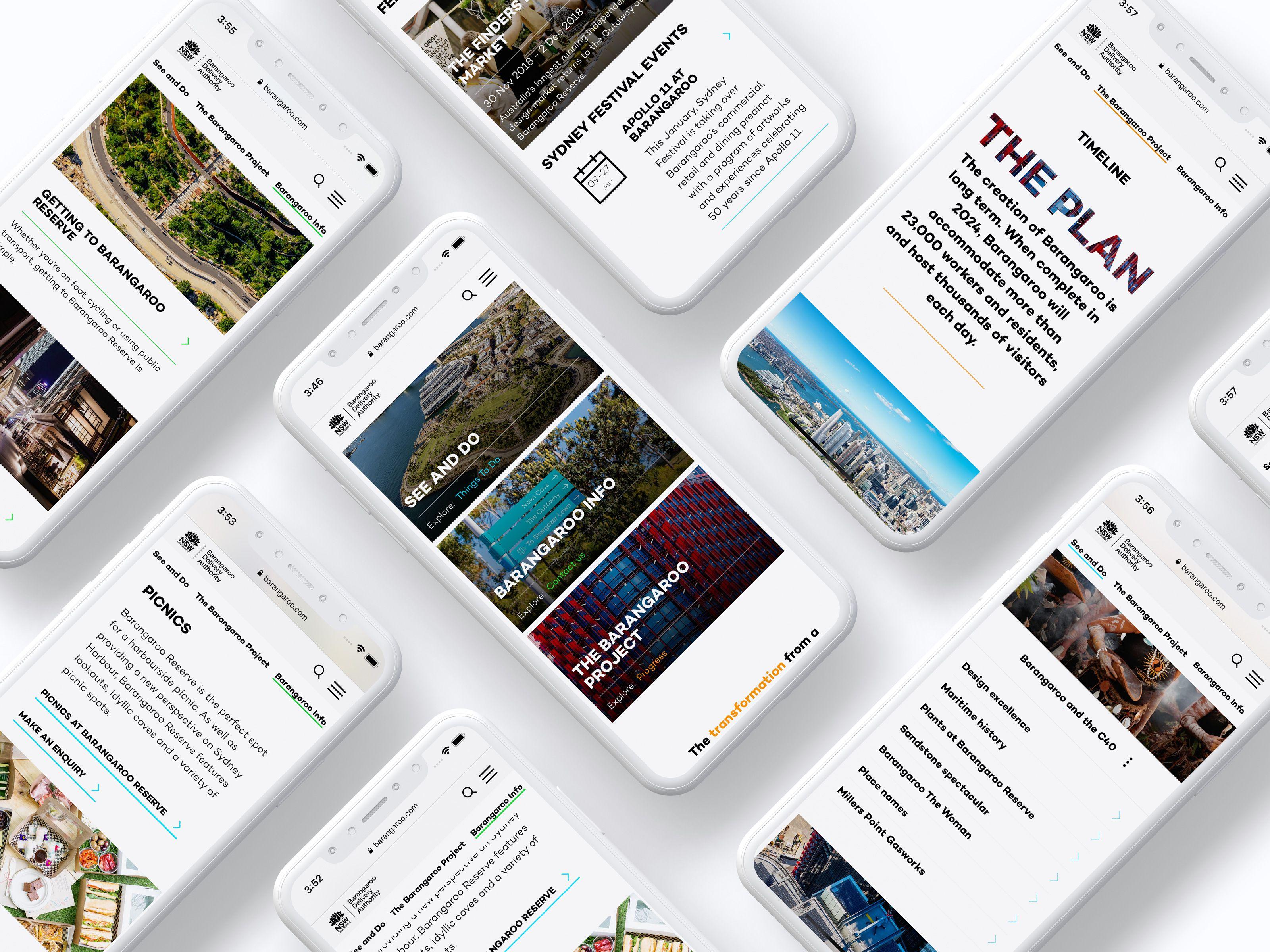 Several screenshots of the Barangaroo website as seen on an iPhone X device
