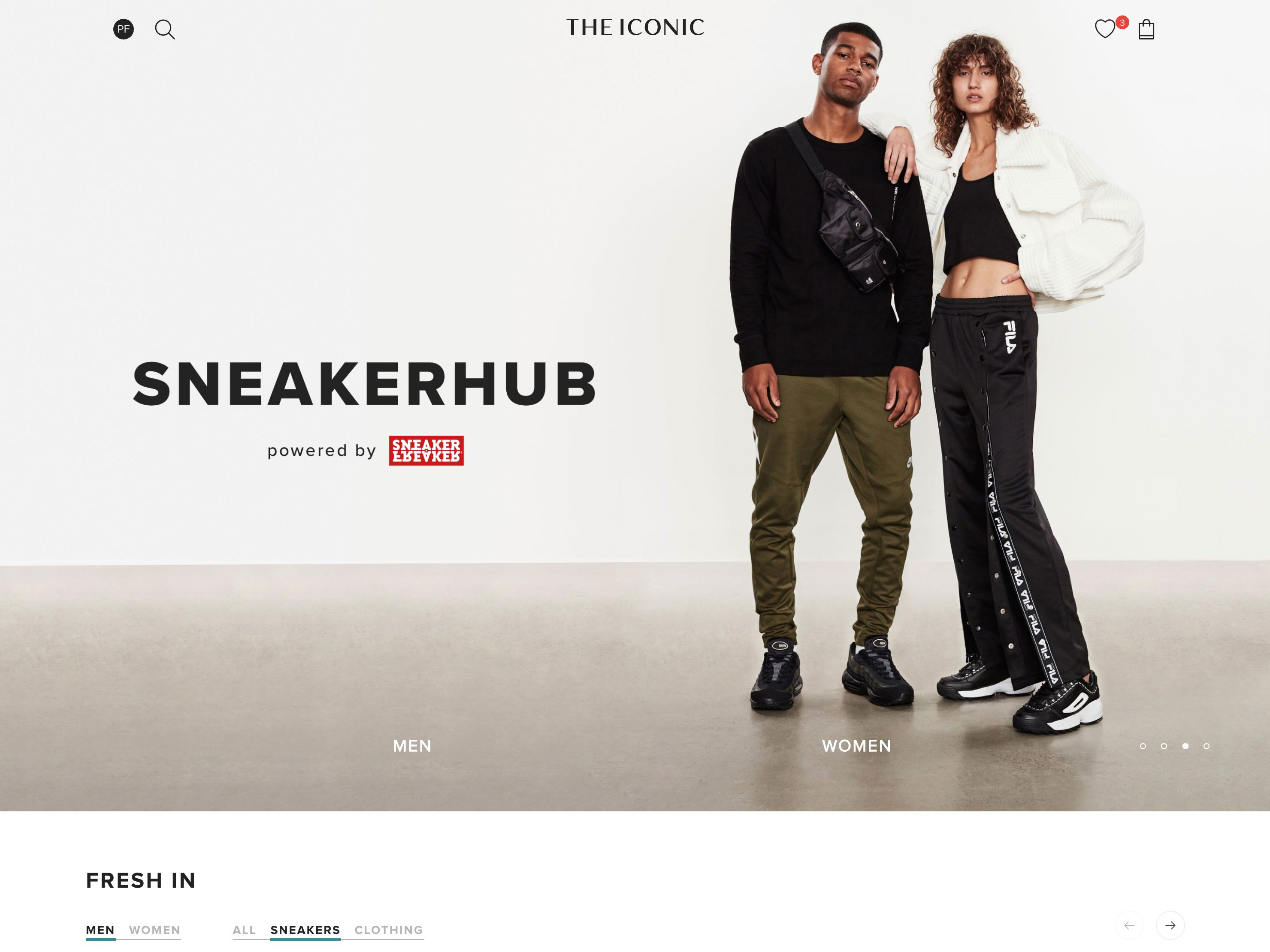 Screenshot of THE ICONIC's SneakerHub landing page