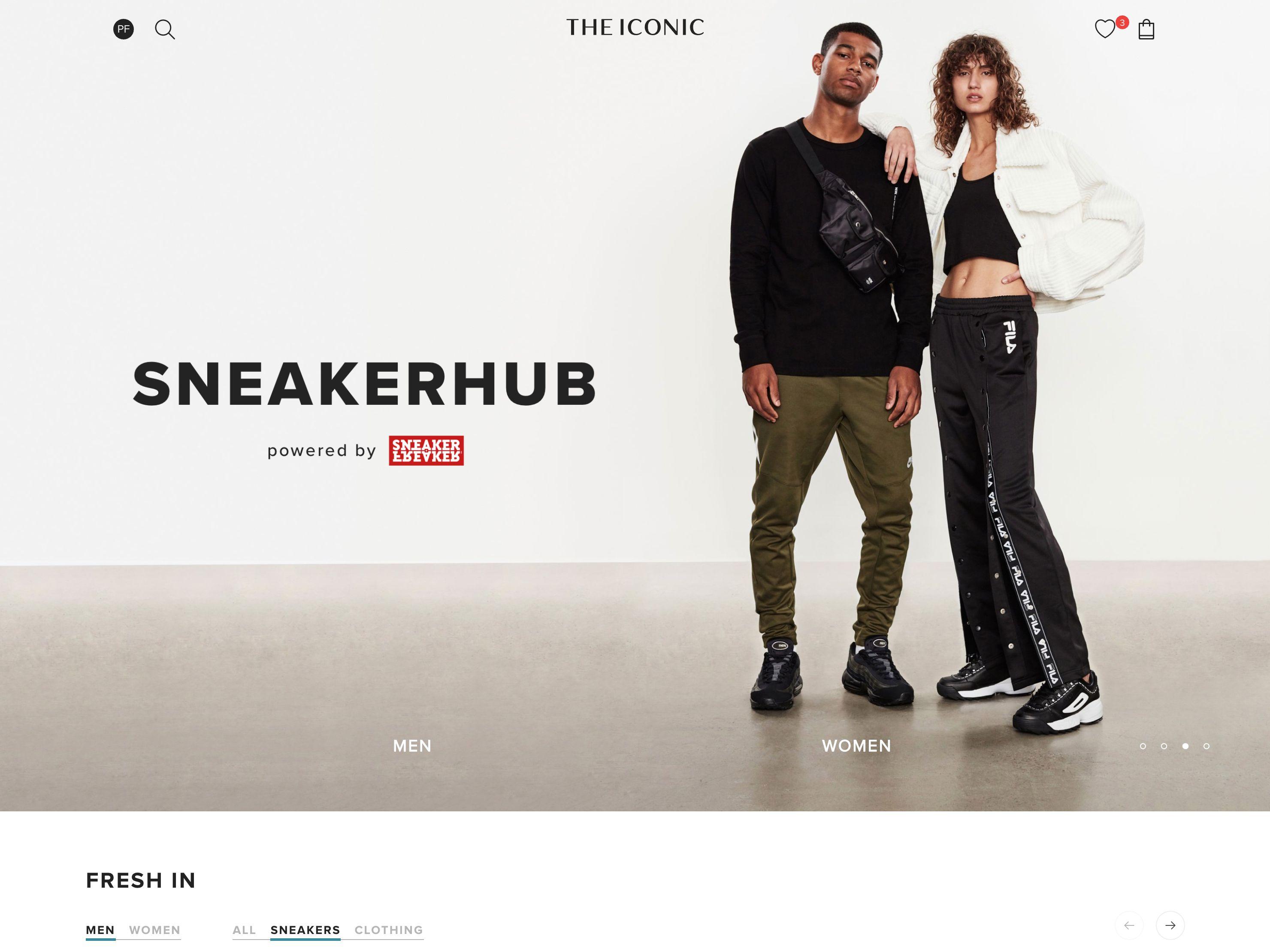 Screenshot of THE ICONIC's SneakerHub landing page