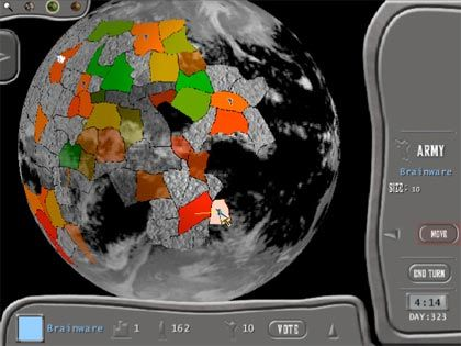 Still image of Corpwars gameplay showing a player moving troops across the playing field