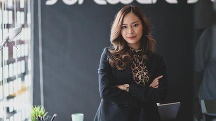Beautiful business woman smiling.