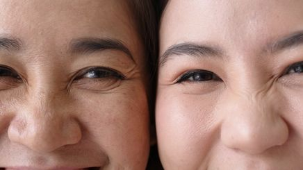 Portrait of two Asian women with fine lines