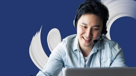 An Asian man on video call meeting