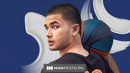 Filipino basketball player Kobe Paras in a black shirt holding a basketball