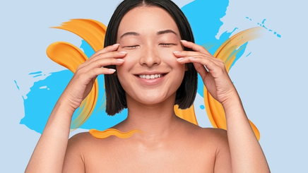 An Asian woman touching face