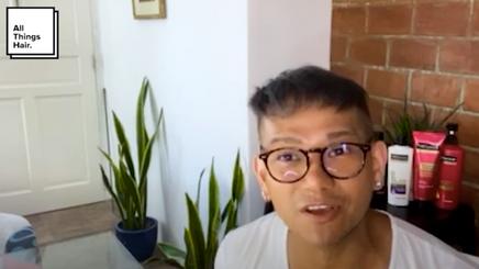 Man cut his hair at home.