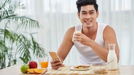 A man eating healthy food