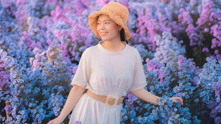 Asian woman in a lavender field