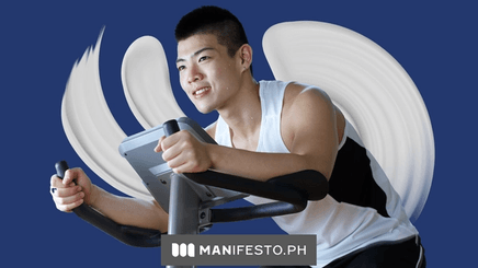 A man working out on an exercise bike