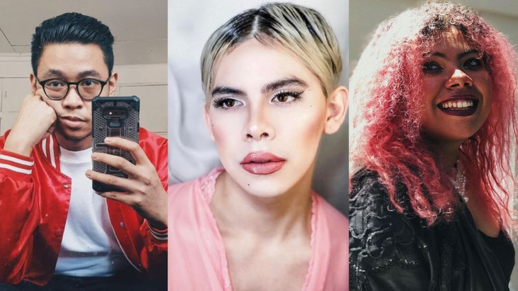 A spliced image of a man in red taking a selfie, a drag queen in pink wearing full makeup, and a woman with pink curly hair