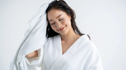 Woman looking fresh after shower.
