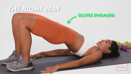 A woman showing how to properly do a glute bridge