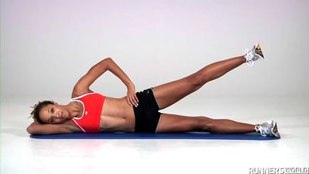 A woman showing how to do side-lying leg lifts
