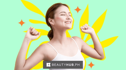 Asian woman about to raise her arms with head turn up and eyes closed