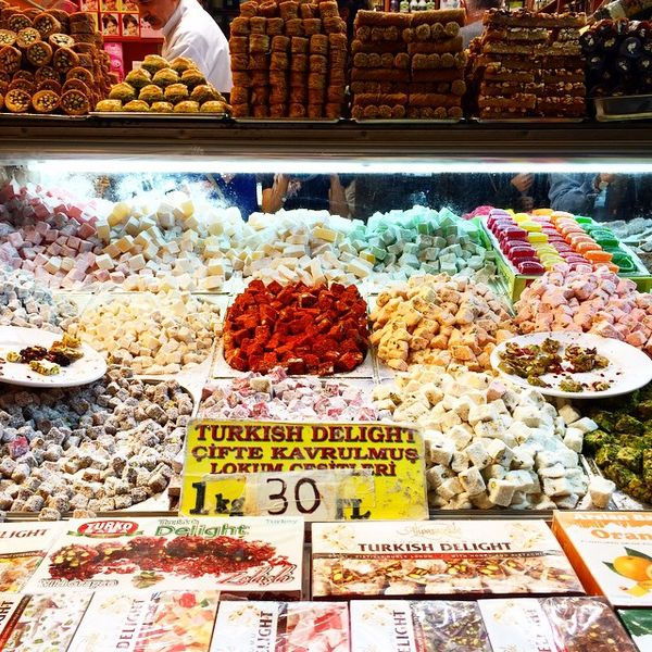Mounds of turkish delight and baklavas in the spice market