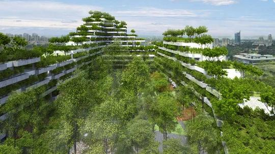 A rendering of a U-shaped building on the University campus. The building is 5 stories and on each tier or story there are many trees. There is a central plaza in the middle that also has many trees.