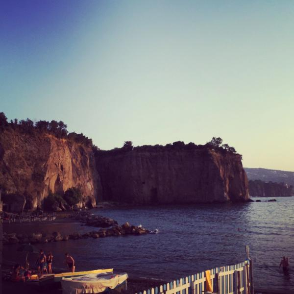 View of the cliffs and water in Sorrento, Italy