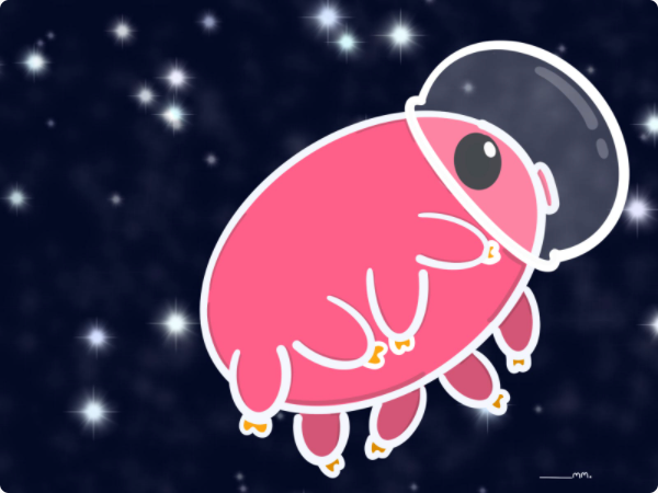 A pink cartoon water bear with a astronaut helmet, floating through space.